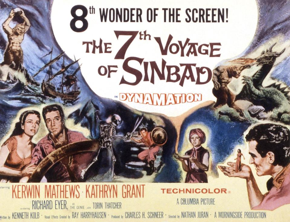The 7th Voyage Of Sinbad, lobbycard, (aka THE SEVENTH VOYAGE OF SINBAD), Kathryn Grant, Kerwin Mathews, 1958. (Photo by LMPC via Getty Images)