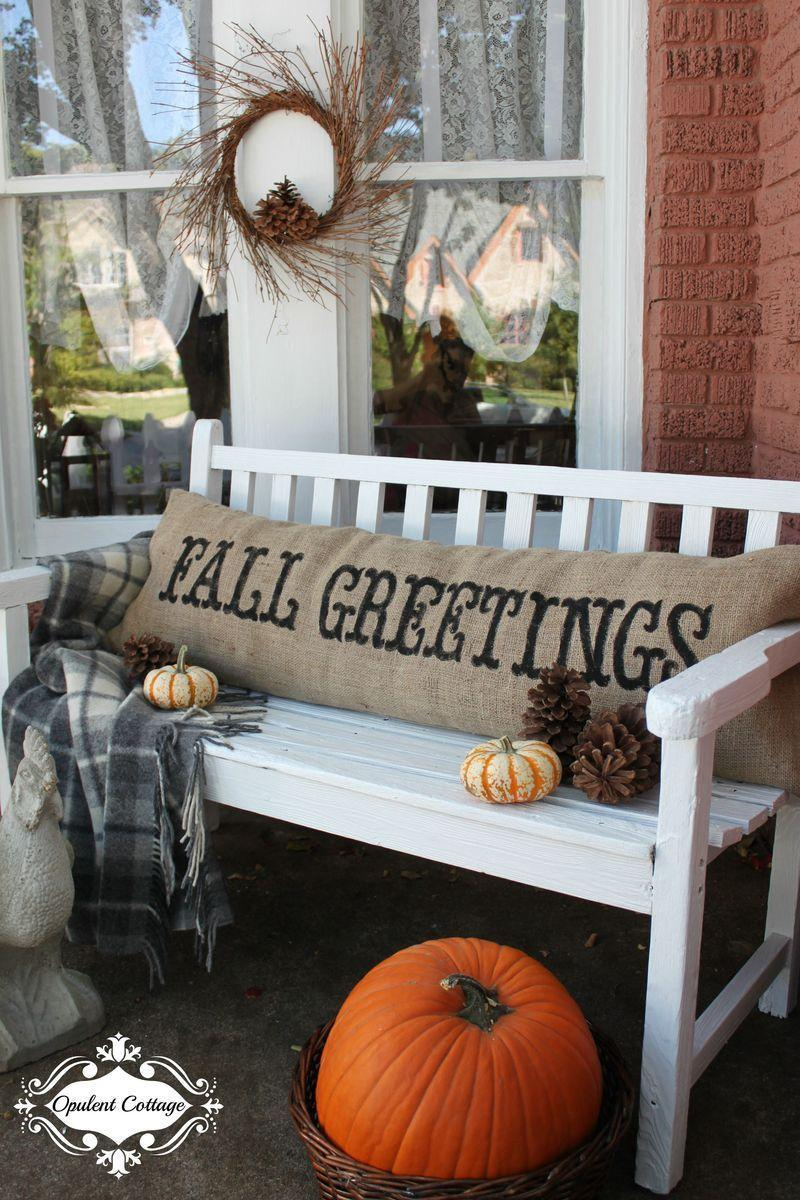 """<p>Give your porch a a warm autumn touch by adding a cozy fall pillow. </p><p><strong>Get the tutorial at <a href=""""http://opulentcottage.typepad.com/opulentcottage/2012/09/fresh-paint-and-another-new-burlap-pillow.html"""" rel=""""nofollow noopener"""" target=""""_blank"""" data-ylk=""""slk:Opulent Cottage"""" class=""""link rapid-noclick-resp"""">Opulent Cottage</a>.</strong></p><p><a class=""""link rapid-noclick-resp"""" href=""""https://www.amazon.com/s/?ref=nb_sb_noss_2%3Furl%3Dsearch-alias%3Daps&field-keywords=fall+pillow&rh=i%3Aaps%2Ck%3Afall+pillow&tag=syn-yahoo-20&ascsubtag=%5Bartid%7C10050.g.1371%5Bsrc%7Cyahoo-us"""" rel=""""nofollow noopener"""" target=""""_blank"""" data-ylk=""""slk:SHOP FALL PILLOWS"""">SHOP FALL PILLOWS</a></p>"""
