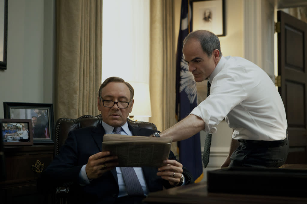 "Kevin Spacey and Michael Kelly in the ""House of Cards"" Season 1 episode, ""Chapter 2."""