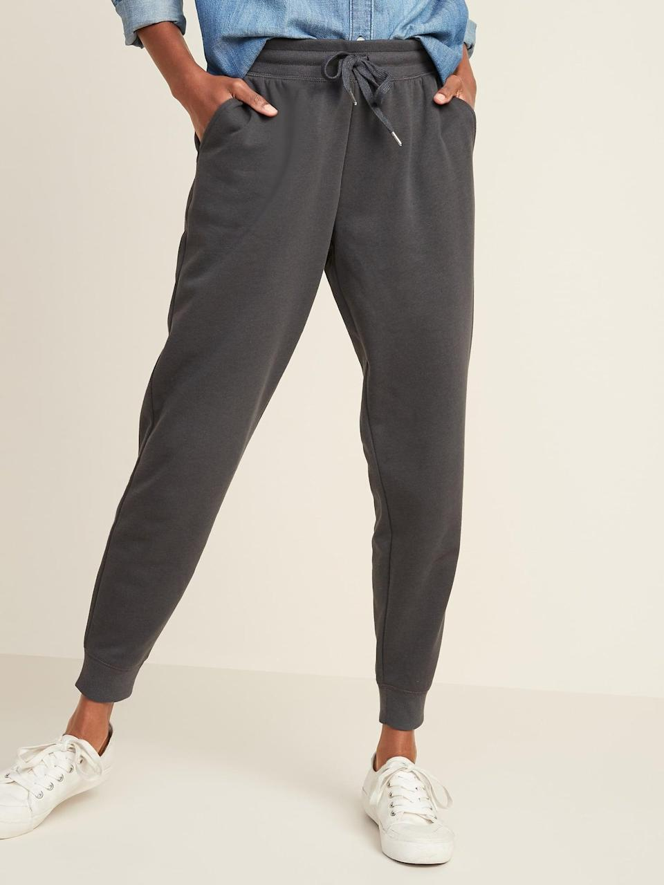 <p>These <span>Old Navy Mid-Rise Tapered-Leg Jogger Pants</span> ($28, originally $30) in dark grey are so versatile and comfy.</p>