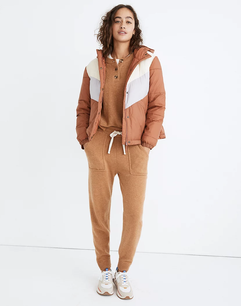 "<br><br><strong>Madewell</strong> Chevron Packable Puffer Jacket, $, available at <a href=""https://go.skimresources.com/?id=30283X879131&url=https%3A%2F%2Fwww.madewell.com%2Fchevron-packable-puffer-jacket-in-colorblock-MA644.html"" rel=""nofollow noopener"" target=""_blank"" data-ylk=""slk:Madewell"" class=""link rapid-noclick-resp"">Madewell</a>"