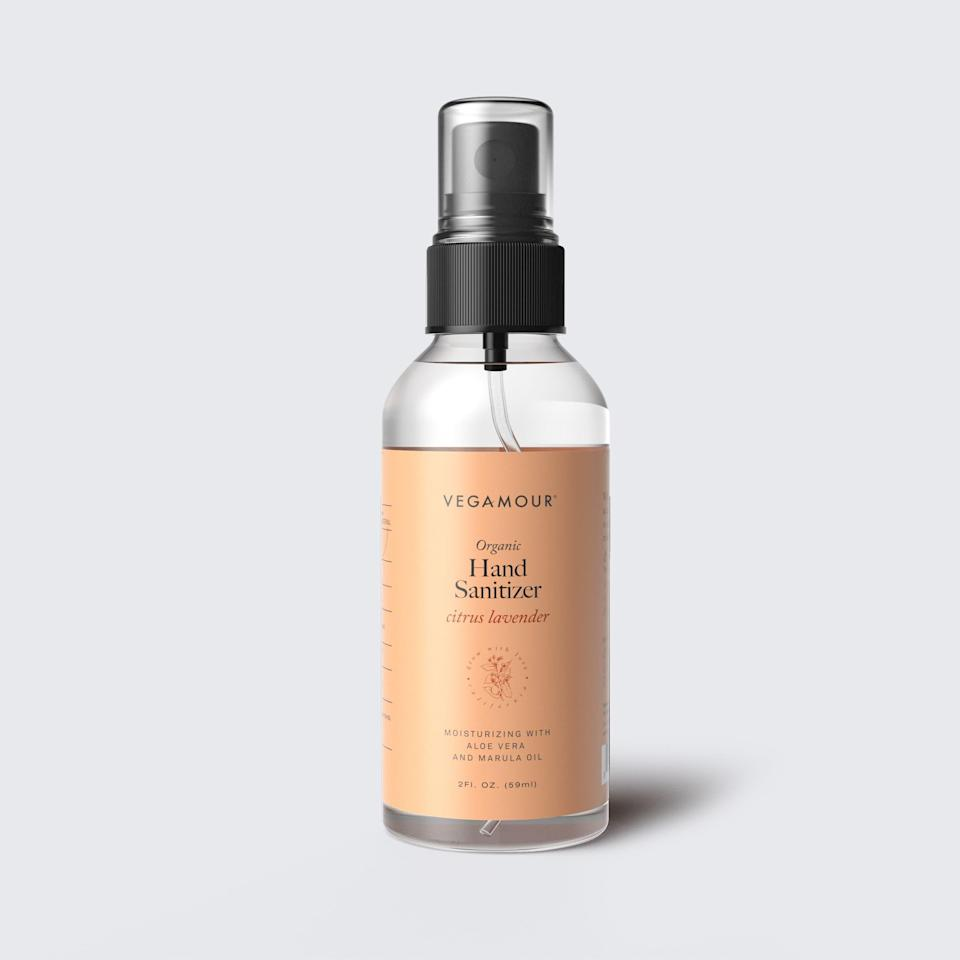 """Vegamour's Hand Sanitizer Spray is plant-based, cruelty-free, and contains moisturizing ingredients like aloe vera and <a href=""""https://www.allure.com/gallery/marula-oil-skin-hair-products?mbid=synd_yahoo_rss"""" rel=""""nofollow noopener"""" target=""""_blank"""" data-ylk=""""slk:marula oil"""" class=""""link rapid-noclick-resp"""">marula oil</a> — in addition to 75 percent isopropyl alcohol to eradicate germs. It's also available in a larger, six-ounce spray bottle <em>or</em> a three-pack of two-ounce bottles for $16 each."""