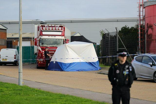 Police activity in Grays, Essex, in 2019 after 39 bodies were found inside a lorry container (Picture: PA)