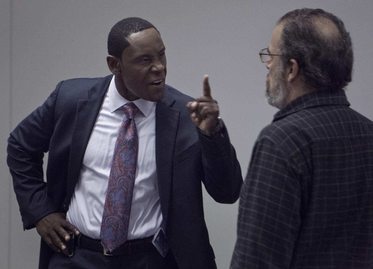 "David Harewood as David Estes and Mandy Patink as Saul Berenson in the ""Homeland"" Season 2 episode, ""Broken Hearts."""