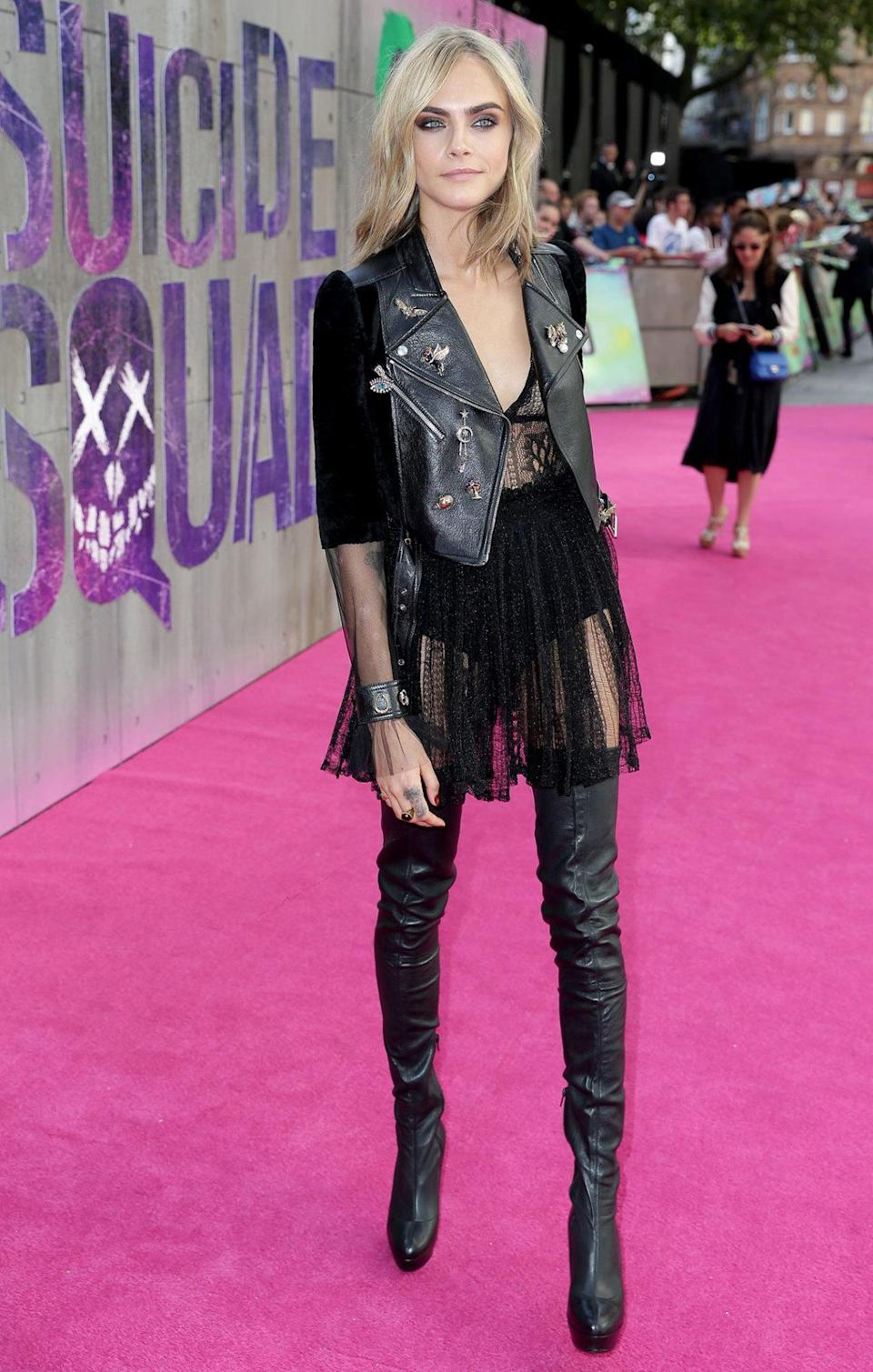 <p>The supermodel turned actress wore all-black for the glitzy premiere.</p>