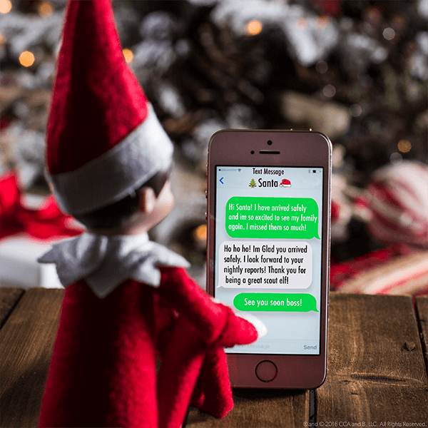 """<p>""""I have arrived safely and I'm so excited to see my family again. I missed them so much!"""" reads the sweet text to Santa your kids will find on your Elf's phone. It's a simple way to get them excited about his return!</p><p><strong>Get the tutorial at <a href=""""https://www.elfontheshelf.com/blog/return-ideas"""" rel=""""nofollow noopener"""" target=""""_blank"""" data-ylk=""""slk:The Elf on the Shelf"""" class=""""link rapid-noclick-resp"""">The Elf on the Shelf</a>.</strong> </p>"""