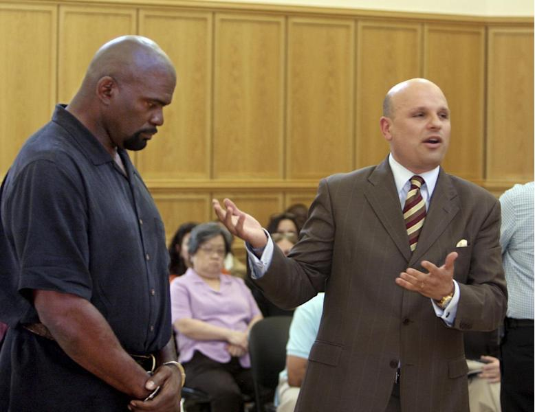 FILE- In this May 6, 2010 file photo, attorney Arthur Aidala, right addresses the court as his client, former New York Giants linebacker and Pro Football Hall of Famer Lawrence Taylor, listens, during Taylor's arraignment arraignment at Ramapo Town Court in Suffern, N.Y. Aidala, a former state prosecutor who is now a criminal defense attorney and Fox News legal analyst, is on a list of candidates to become the next U.S. Attorney for the Eastern District of New York. (AP Photo/Seth Harrison, Pool, File)