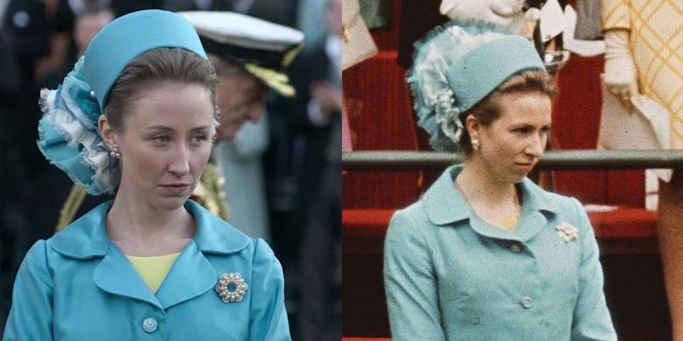 """<p>The public began to take note of Princess Anne's style in the early '70s, including her investiture look. The young royal's blue coat dress, diamond brooch, and pillbox hat were recreated for actress Erin Doherty in season 3. </p><p><strong>RELATED</strong>: <a href=""""https://www.goodhousekeeping.com/life/entertainment/a33612734/princess-anne-70-birthday-photos/"""" rel=""""nofollow noopener"""" target=""""_blank"""" data-ylk=""""slk:Three Stunning New Photos Mark Princess Anne's 70th Birthday"""" class=""""link rapid-noclick-resp"""">Three Stunning New Photos Mark Princess Anne's 70th Birthday</a></p>"""
