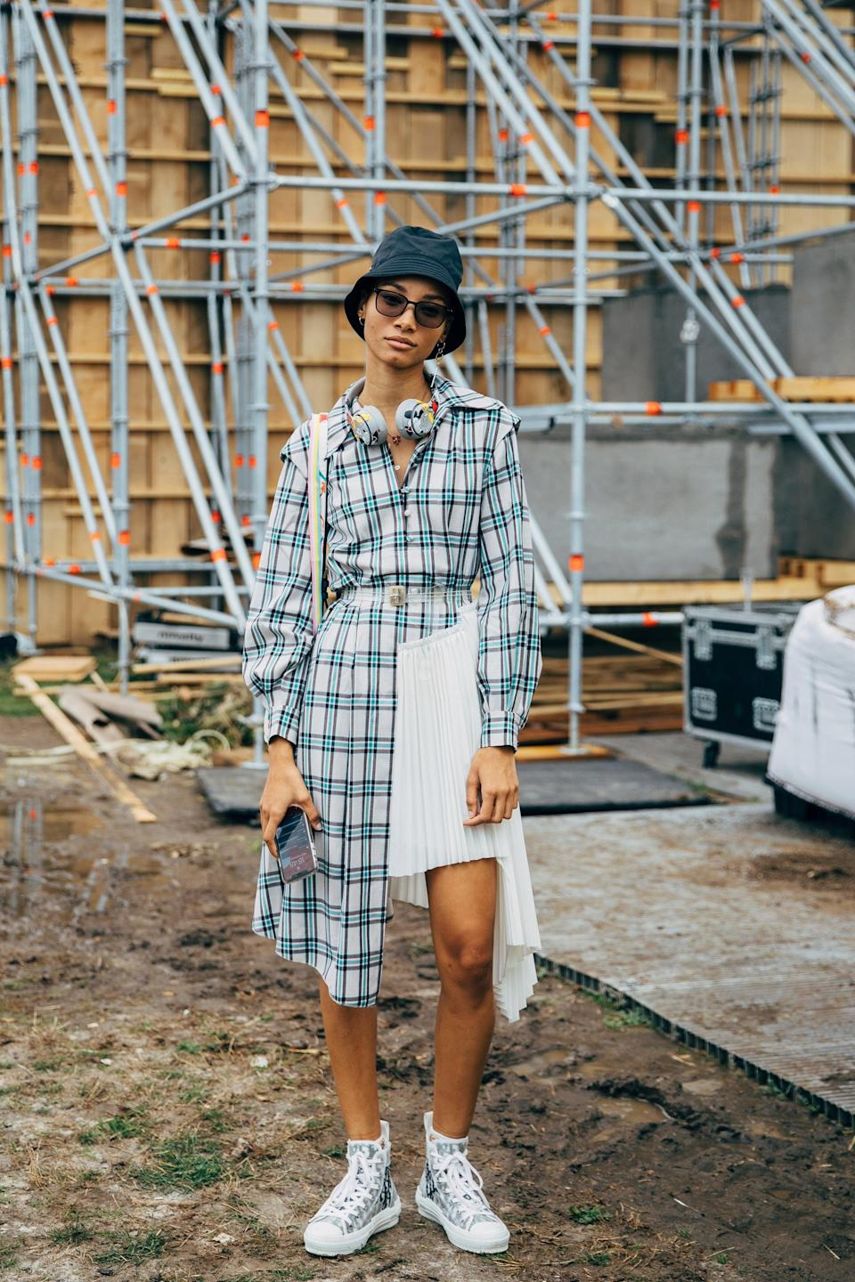 <p>Reinvent plaid for summer by pairing it with a white mini. </p>