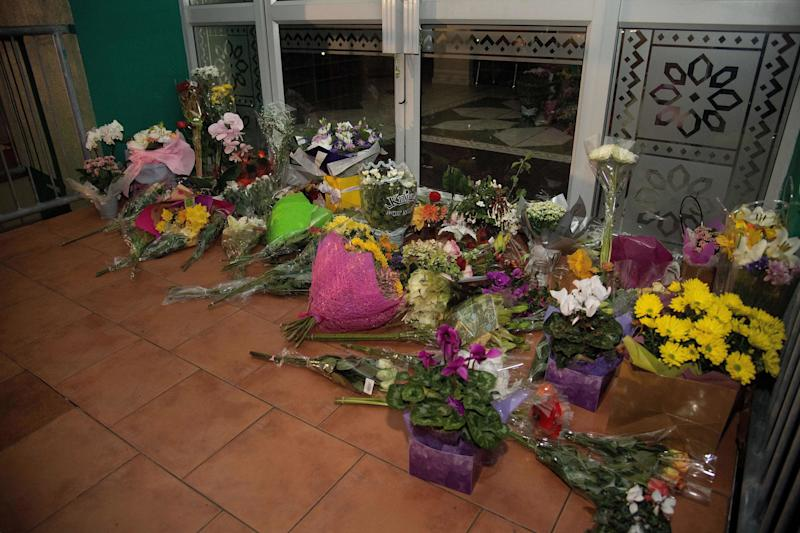 Flowers are placed on the front steps of the Wellington Masjid mosque in Kilbirnie in Wellington, New Zealand.