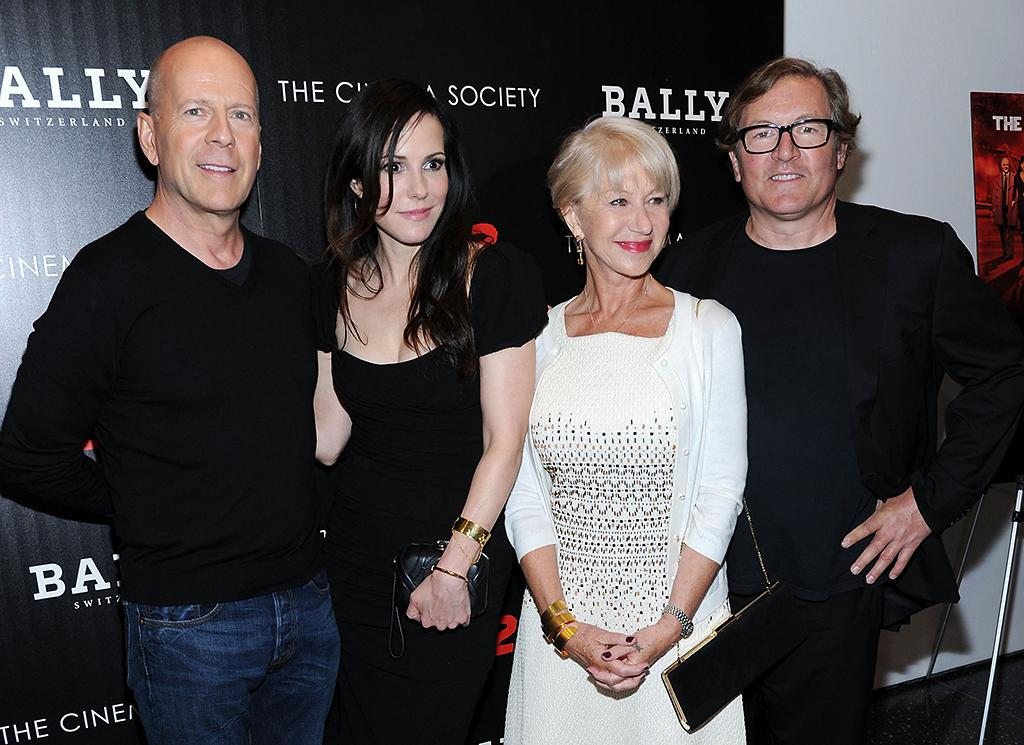 "NEW YORK, NY - JULY 16:  (L-R) Actors Bruce Willis, Mary-Louise Parker, Helen Mirren and director Dean Parisot attend The Cinema Society And Bally Host A Screening Of Summit Entertainment's ""Red 2"" at The Museum of Modern Art on July 16, 2013 in New York City.  (Photo by Ilya S. Savenok/FilmMagic)"
