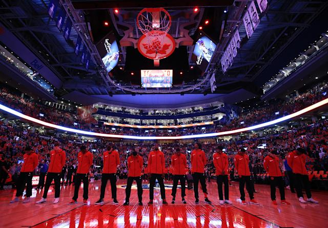 "The <a class=""link rapid-noclick-resp"" href=""/nba/teams/tor"" data-ylk=""slk:Toronto Raptors"">Toronto Raptors</a> are reportedly attempting to trade for a top-10 pick in the NBA draft, and ""no one"" on their roster is off the table. (Getty Images)"