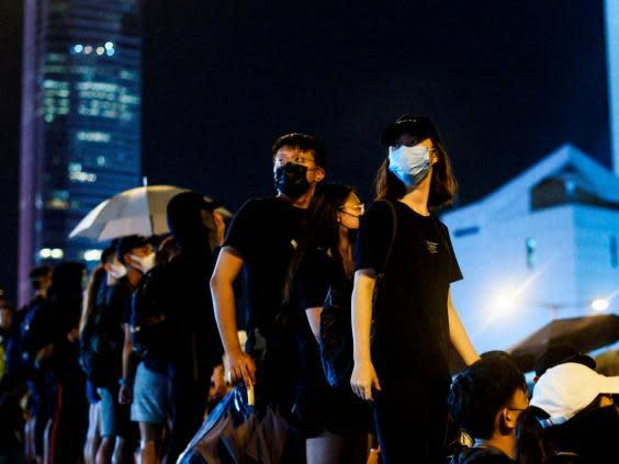 Protesters gather at Harcourt Road in an anti-government rally in Hong Kong (AFP/Getty)