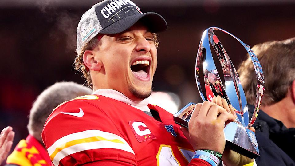 Patrick Mahomes, pictured here with the Lamar Hunt trophy after winning the AFC Championship Game in 2019.