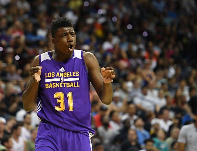 "The Lakers took <a class=""link rapid-noclick-resp"" href=""/ncaab/players/132538/"" data-ylk=""slk:Thomas Bryant"">Thomas Bryant</a> with the No. 42 pick in the June draft. (Getty)"