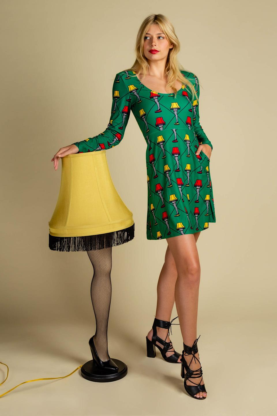 """Looking for something stylish for the """"Christmas Story"""" fan in your life? This <a href=""""https://www.shinesty.com/products/the-fragile-skater-dress"""" target=""""_blank"""" rel=""""noopener noreferrer"""">skater dress with """"fragile leg lamps""""</a> will be treated as a major award, for sure."""
