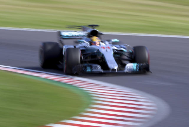 <p>Mercedes driver Lewis Hamilton of Britain steers his car during the Japanese Formula One Grand Prix at Suzuka, Japan, Sunday, Oct. 8, 2017. (AP Photo/Eugene Hoshiko)</p>