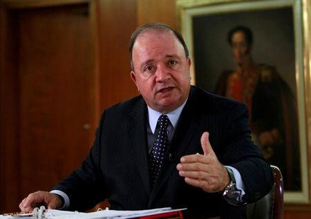 Colombian Defense Minister Luis Carlos Villegas talks during an interview with Reuters in Bogota, Colombia