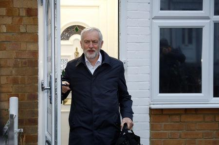 Jeremy Corbyn, Leader of the Labour Party leaves his house in London, Britain January 16, 2019. REUTERS/Peter Nicholls