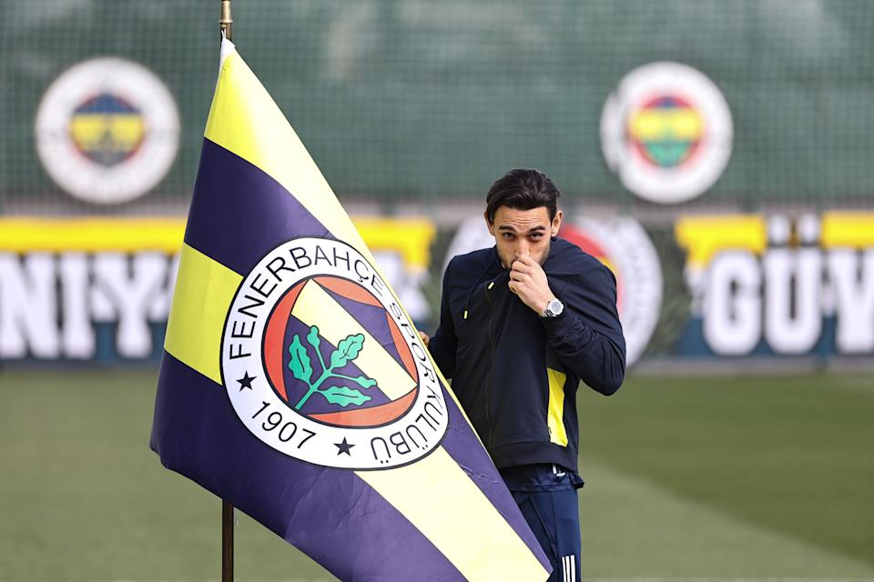ISTANBUL, TURKEY - MARCH 02: Irfan Can Kahveci of Fenerbahce poses for a photo after holding a press conference at Fenerbahce Can Bartu Training Facilities in Istanbul, Turkey on March 02, 2021. (Photo by Emrah Yorulmaz/Anadolu Agency via Getty Images)