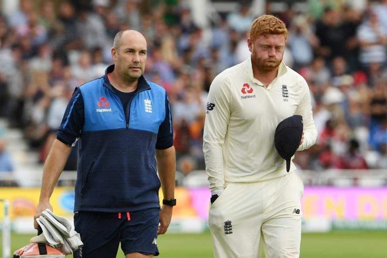 England's Jonny Bairstow leaves the field after breaking a finger keeping wicket during the third Test against India at Trent Bridge