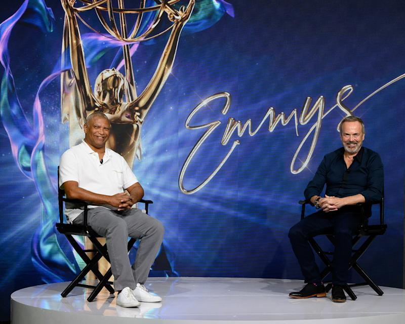 Hudlin and Stewart smile through the difficulties of producing an awards show during a pandemic (Photo: ABC/Todd Wawrychuk)