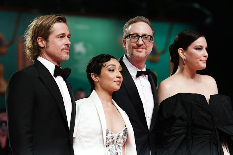 "(FromR) US actress Liv Tyler, US director James Gray, Ethiopian-Irish actress Ruth Negga and US actor Brad Pitt arrive on August 29, 2019 for the screening of the film ""Ad Astra"" during the 76th Venice Film Festival at Venice Lido. (Photo by Vincenzo PINTO / AFP) (Photo credit should read VINCENZO PINTO/AFP/Getty Images)"