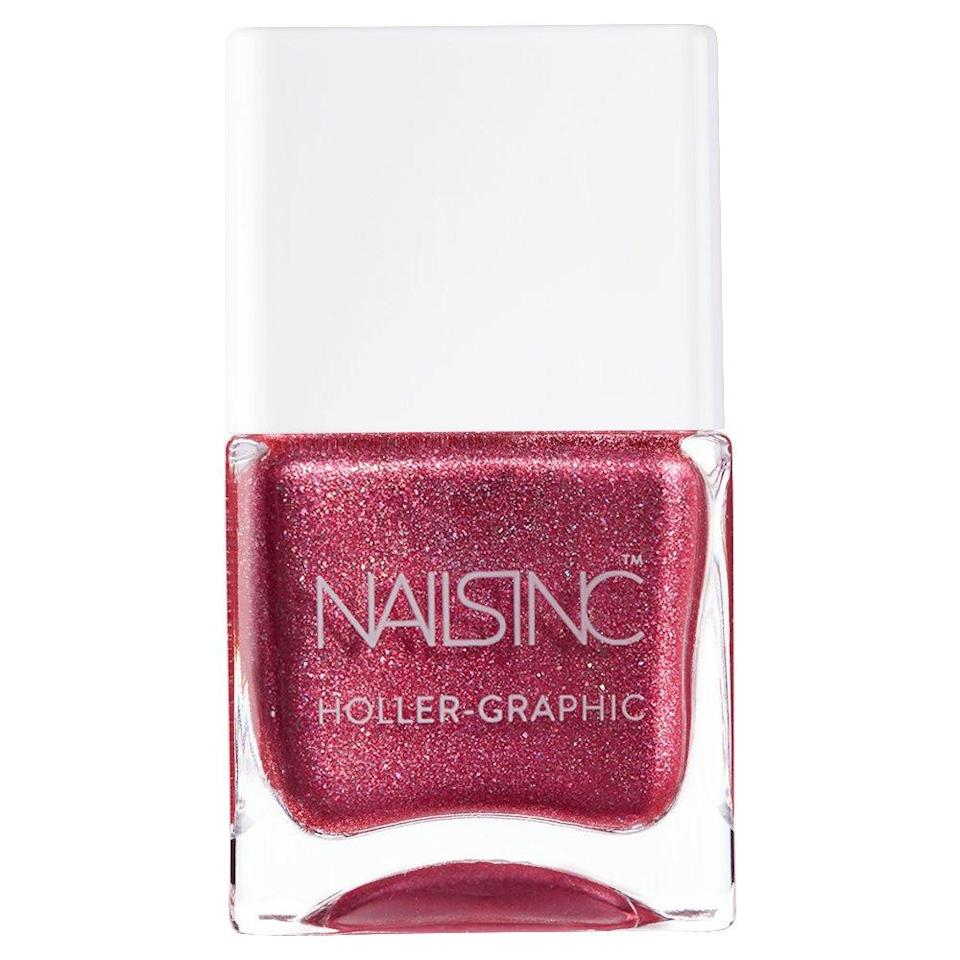 """<p>The weather may be cooling down — but, you're still feeling <em>hot, hot, hot.</em> Your desires are currently heightened, making you yearn for an extra sensual nail color this month. A rich and enchanting red polish that glimmers will do the trick in bringing your passionate pleasures to life.</p> <p><strong>To shop: </strong>$20; <a href=""""https://www.amazon.com/Nails-Inc-Holler-Graphic-Molten-Day/dp/B07B4GZ6BL/ref=as_li_ss_tl?ie=UTF8&linkCode=ll1&tag=isbeuhaircolorsforlibraseasonlstardustsep20-20&linkId=b5453bef539c2066d6ec41c40c2ec3f0"""" rel=""""nofollow noopener"""" target=""""_blank"""" data-ylk=""""slk:amazon.com"""" class=""""link rapid-noclick-resp"""">amazon.com</a></p>"""