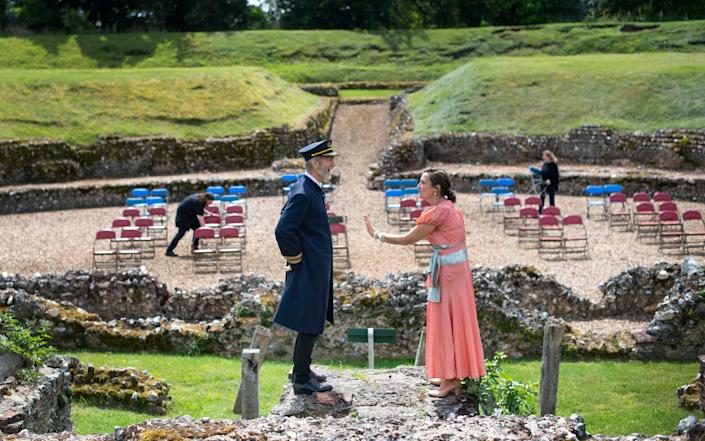 Production crew space chairs apart as actors rehearse together for the first time at the Roman Open Air Theatre in St Albans, as outdoor theatres prepare for reopening to the public - PA