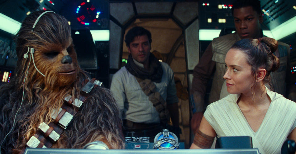 Joonas Suotamo, Oscar Isaac, Daisy Ridley and John Boyega in 'Star Wars: The Rise of Skywalker'. (Credit: Disney/Lucasfilm)
