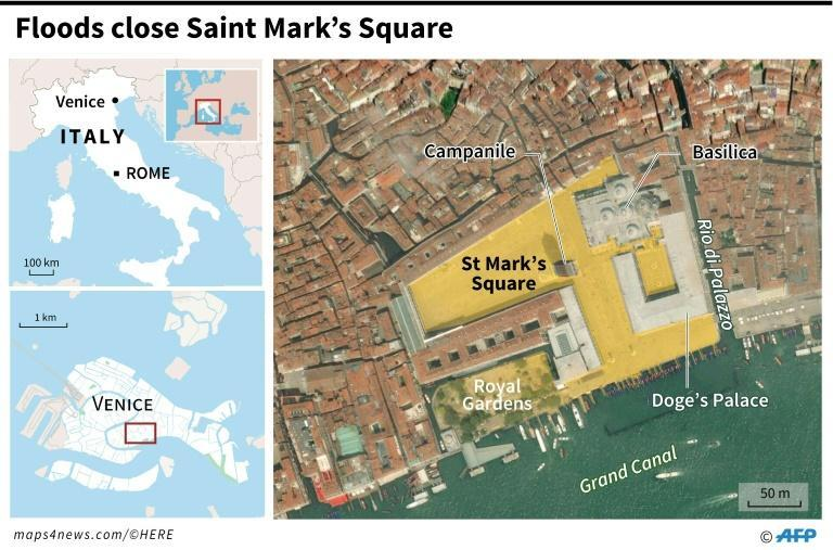 Satellite map of central Venice locating St Mark's Square