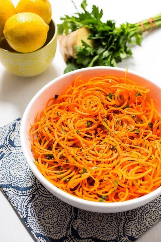 "<p>Zoodles aren't the only thing worth spiralizing — try carrots for a quick and easy side salad.</p><p><em><a href=""http://girlinthelittleredkitchen.com/2015/06/spiralized-carrot-salad-with-lemon-ginger-dressing/"" rel=""nofollow noopener"" target=""_blank"" data-ylk=""slk:Get the recipe from Girl In the Little Red Kitchen »"" class=""link rapid-noclick-resp"">Get the recipe from Girl In the Little Red Kitchen »</a></em></p><p><strong>What you'll need: </strong>spiralizer ($28, <a href=""https://www.amazon.com/Spiralizer-Vegetable-Strongest-Heaviest-Gluten-Free/dp/B00GRIR87M?tag=syn-yahoo-20&ascsubtag=%5Bartid%7C10055.g.19578681%5Bsrc%7Cyahoo-us"" rel=""nofollow noopener"" target=""_blank"" data-ylk=""slk:amazon.com"" class=""link rapid-noclick-resp"">amazon.com</a>)</p>"