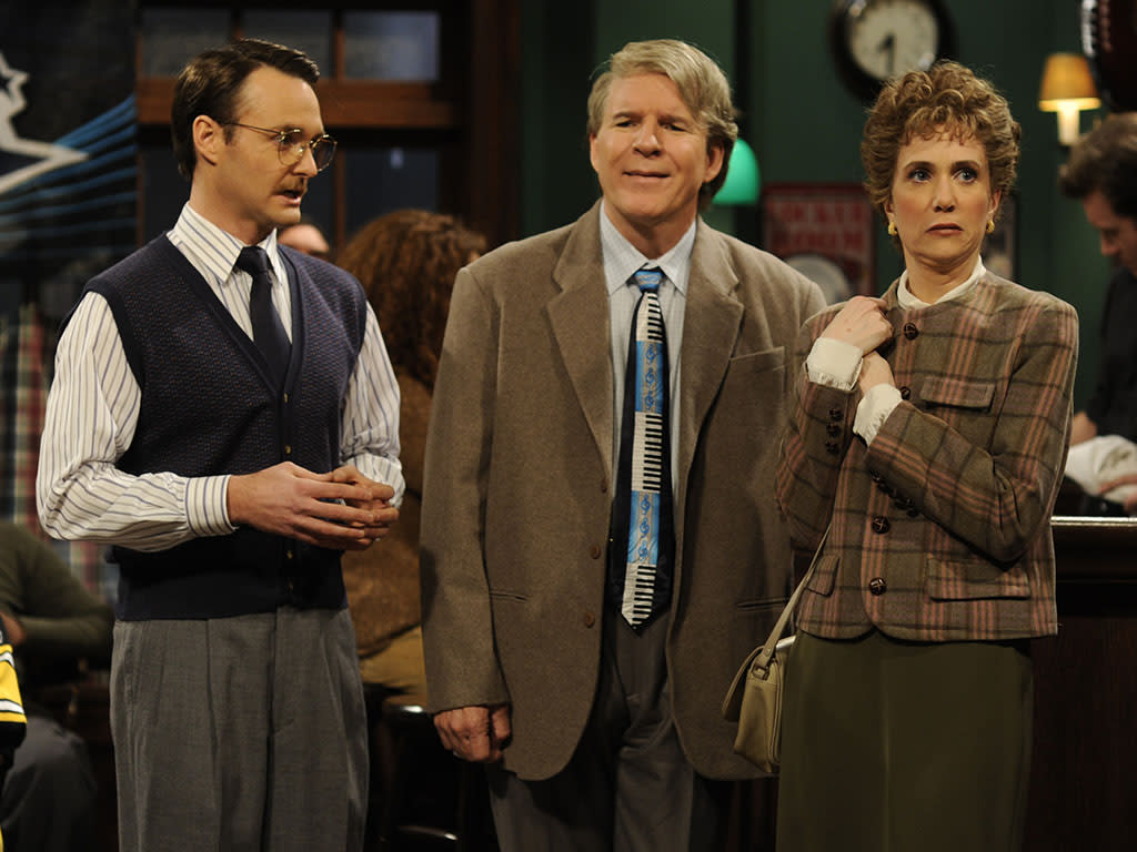 "SATURDAY NIGHT LIVE -- ""Steve Martin"" Episode 1545 -- Airdate 01/31/2008 -- Pictured: (l-r) Will Forte, Steve Martin, Kristen Wiig -- Photo by: Dana Edelson/NBCU Photo Bank"