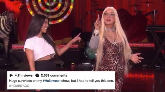 Ellen dressed up as a Kardashian for Halloween and had Kourtney on ...