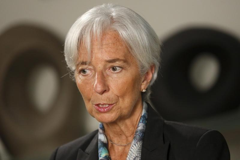Lagarde sits for an interview at IMF headquarters in Washington