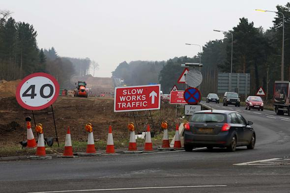 Road works on A11