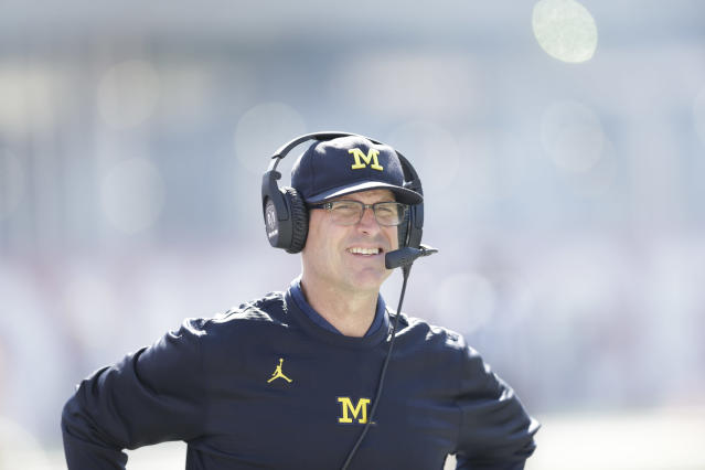 Jim Harbaugh in action during the second half of an NCAA college football game between Michigan and Indiana in Bloomington, Ind., Saturday, Oct. 14, 2017. Michigan won 27-20 in overtime. (AP Photo/AJ Mast)