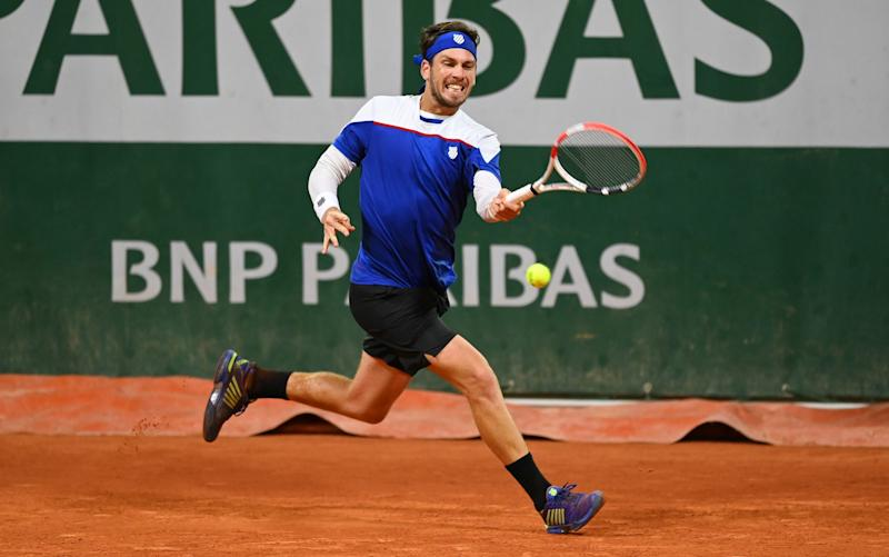 Cameron Norrie faded badly at the end of his match with Daniel Elahi Galan - GETTY IMAGES