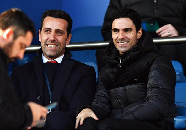 Mikel Arteta (right) and technical director Edu are responsible for Arsenal's transfer strategy.