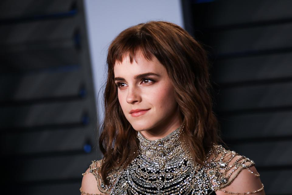 Emma Watson walking on the red carpet at the 2018 Vanity Fair Oscar Party hosted by Radhika Jones held at the Wallis Annenberg Center for the Performing Arts in Beverly Hills on March 4, 2018. (Photo by JC Olivera/Sipa USA)