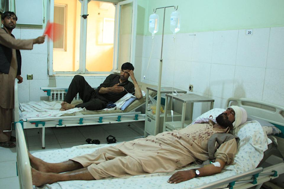 The wounded following the attack (AFP via Getty Images)
