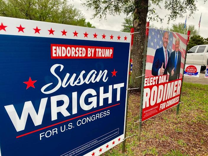 """Susan Wright's campaign signs included the line """"Endorsed by Trump."""""""