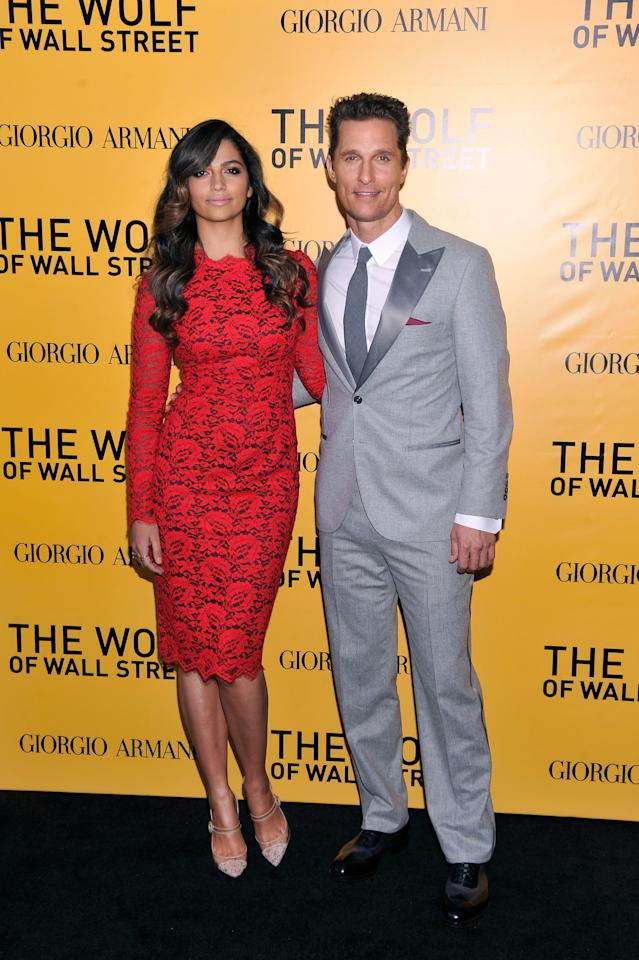 "NEW YORK, NY - DECEMBER 17: Camila Alves and Matthew McConaughey attend Giorgio Armani Presents: ""The Wolf Of Wall Street"" world premiere at the Ziegfeld Theatre on December 17, 2013 in New York City. (Photo by Stephen Lovekin/Getty Images for Giorgio Armani)"