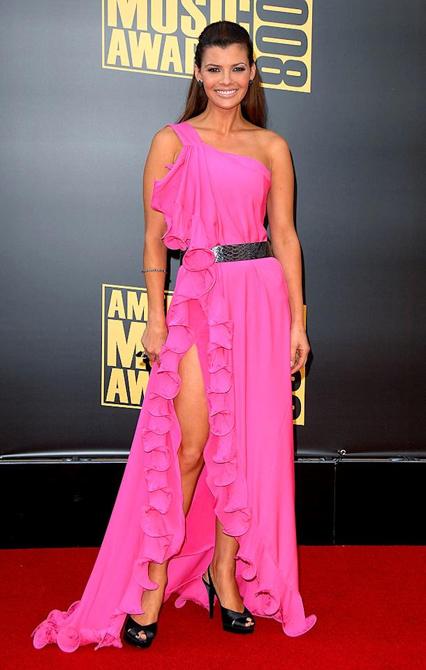 "We're not sure what Ali Landry (former Miss USA and Mario Lopez's ex) was doing at the AMAs, but she certainly turned heads in this revealing hot pink number. Jon Kopaloff/<a href=""http://www.filmmagic.com/"" target=""new"">FilmMagic.com</a> - November 23, 2008"