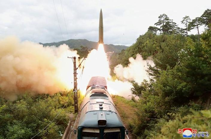 North Korea recently tested a train-mounted missile system (AFP/STR)