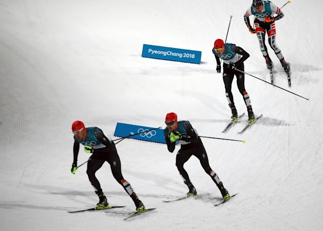 Nordic Combined Events - Pyeongchang 2018 Winter Olympics - Men's Individual 10 km Final - Alpensia Cross-Country Skiing Centre - Pyeongchang, South Korea - February 20, 2018 - Johannes Rydzek of Germany, Fabian Riessle of Germany, Eric Frenzel of Germany and Wilhelm Denifl of Austria in action. REUTERS/Carlos Barria