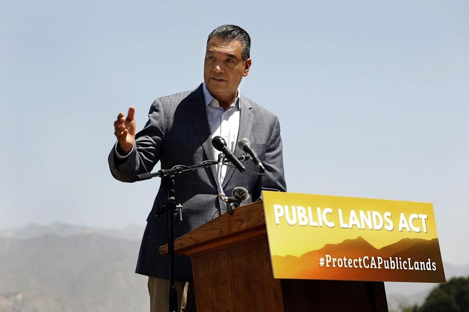 Sen. Alex Padilla (D-Calif.) speaks at a news conference at Santa Fe Dam Recreation Area in Irwindale.