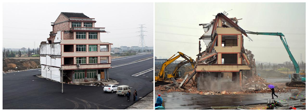 FILE - In this photo combo, shows the before and after of a house that was sitting in the middle of a new main road on the outskirts of Wenling city in east China's Zhejiang province. Authorities have demolished the five-story home, Saturday, Dec. 1. 2012, that stood incongruously in the middle of the new main road and had become the latest symbol of resistance by Chinese homeowners against officials accused of offering unfair compensation. (AP Photo) CHINA OUT