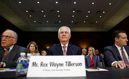 Rex Tillerson testifies during his confirmation hearing to become U.S. Secretary of State