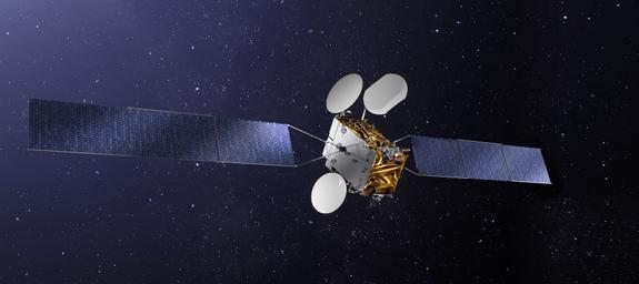 An artist's illustration depicts the TurkmenAlem52E/MonacoSAT, that will allow Turkmenistan to operate its first national satellite telecommunications system.